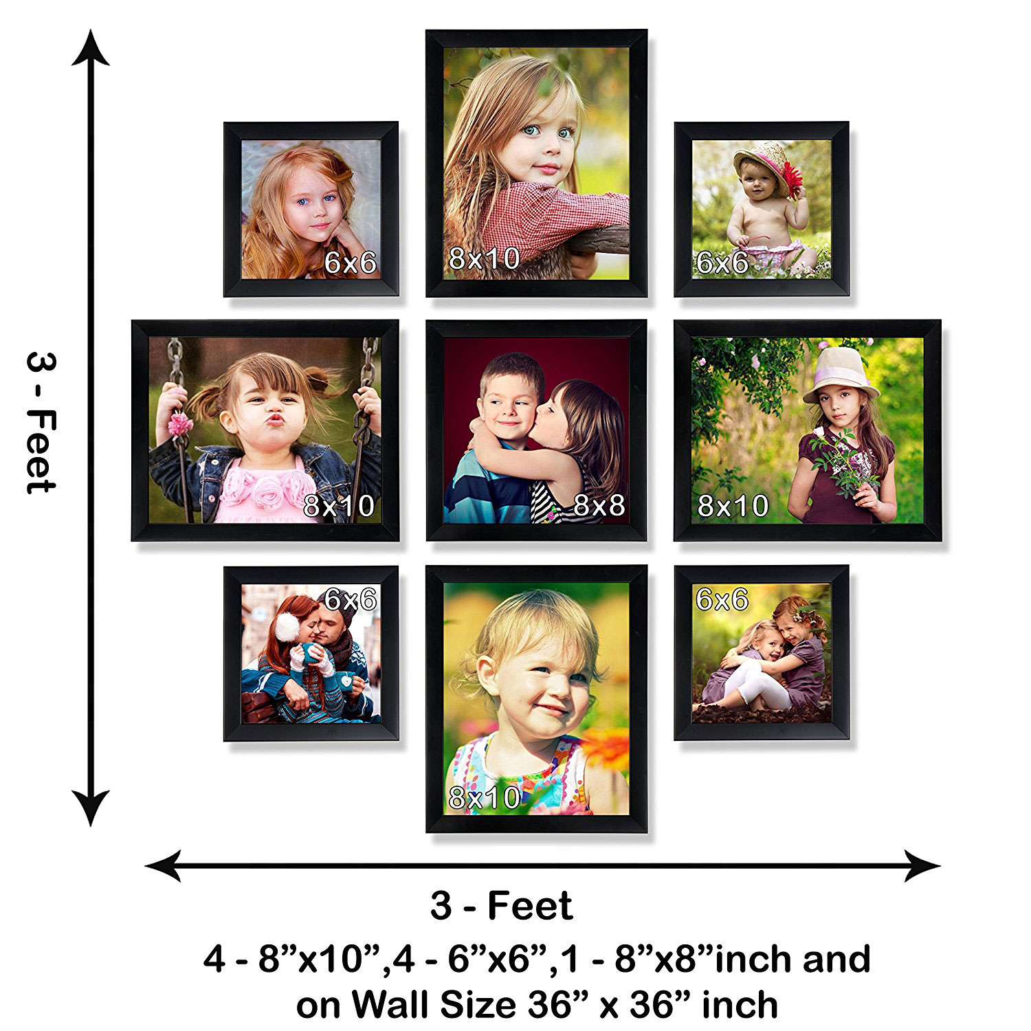 multi collage set of black shade 9 individual photo frames 4 8x10 4 6x6 1 8x8 inch